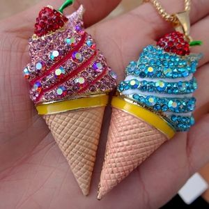 Big Blue Gem Rhinestone Ice Cream Cone Necklace
